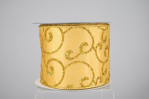 RIBBON WHIMSICAL GLIT 4X10 GOLD