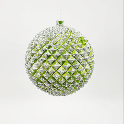 DURIAN BALL GREEN AND SILVER WITH GLITTER
