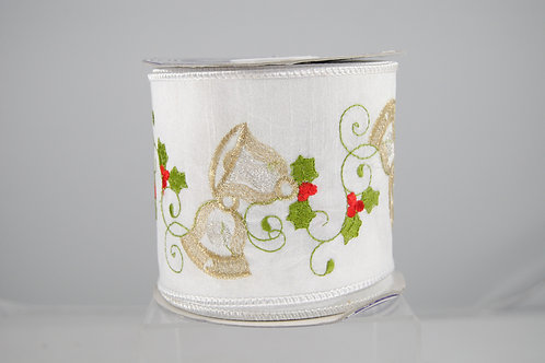 RIBBON EMB HOLLY & BELLS 4X10 WHT