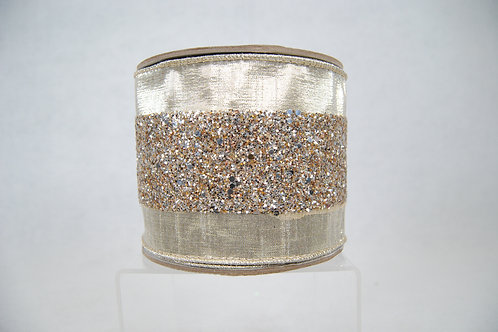 RIBBON GLITTER TRIM 4X10 PLATINUM