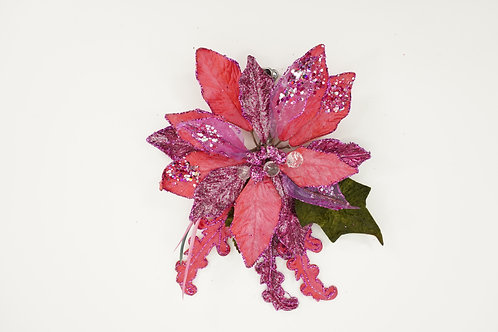 CLIP POINSETTIA WITH  A CAN LEAF PINK