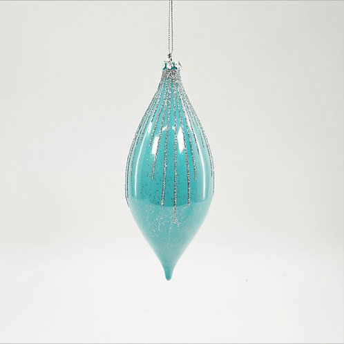 FINIAL 7IN PEARLIZED TEAL WITH SILVER