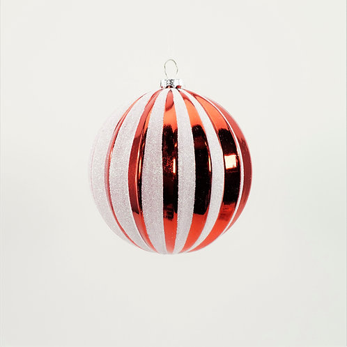BALL 100MM VERTICAL STRIPES RED AND WHITE GLITTER