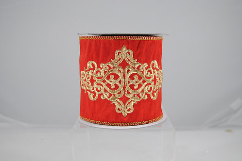 RIBBON EMBROIDERY CREST 4X5 RED/G
