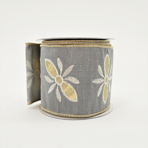 RIBBON EMBROIDERY DUPION 4in x 10yd SILVER AND GOLD
