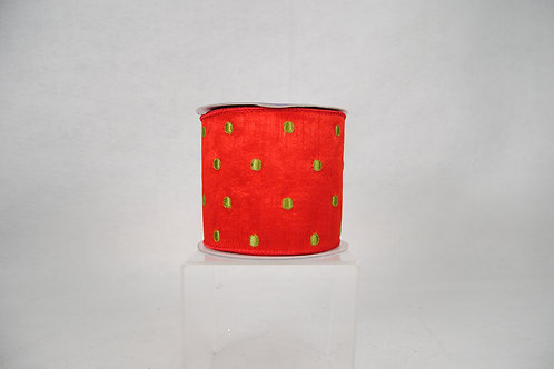 RIBBON DOT EMBROIDERY 4X10 RED/GR