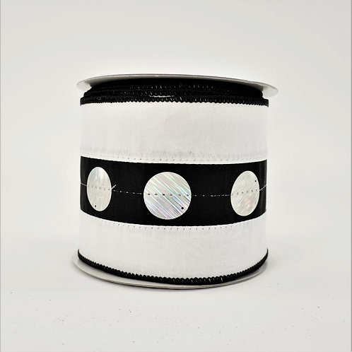 RIBBON LUSTER SEQUIN 4in x 10yd BLACK AND WHITE