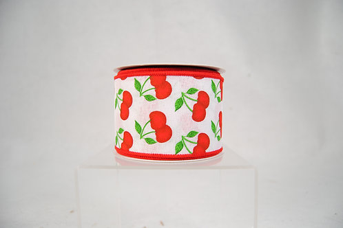 RIBBON WITH CHERRIES 2.5X10 WHITE AND RED