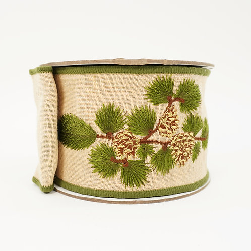 RIBBON LINE EMBROIDERY PINECONE 4X10YD GREEN AND NATURAL
