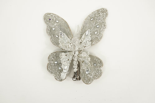 BUTTERFLY ORNAMATE WITH CLIP ICY GRAY
