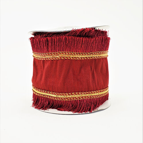 "RIBBON FRINGED TRIM 4""X5YD BURGANDY"