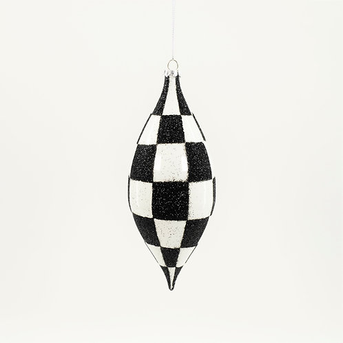FINIAL 7IN CHECKERED WHITE AND BLACK GLITTER