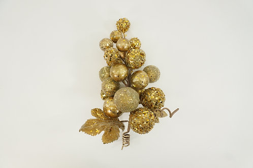 PICK GRAPE CLUSTER WITH LEAVES GOLD