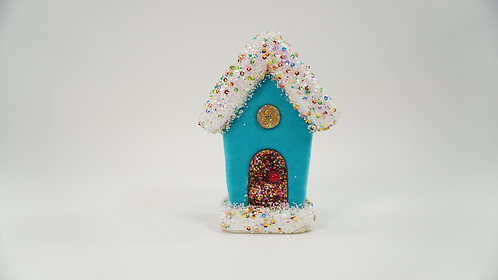 GINGERBREAD HOUSE 6IN TURQUOISE