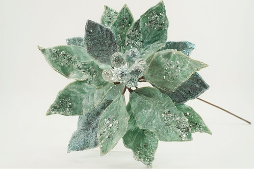 POINSETTIA WITH 2 LEAVES ICY SOFT BLUE