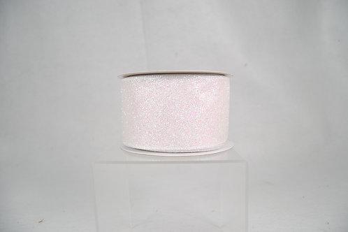 RIBBON IRIDESCENT GLITTER 2.5X10 WHITE
