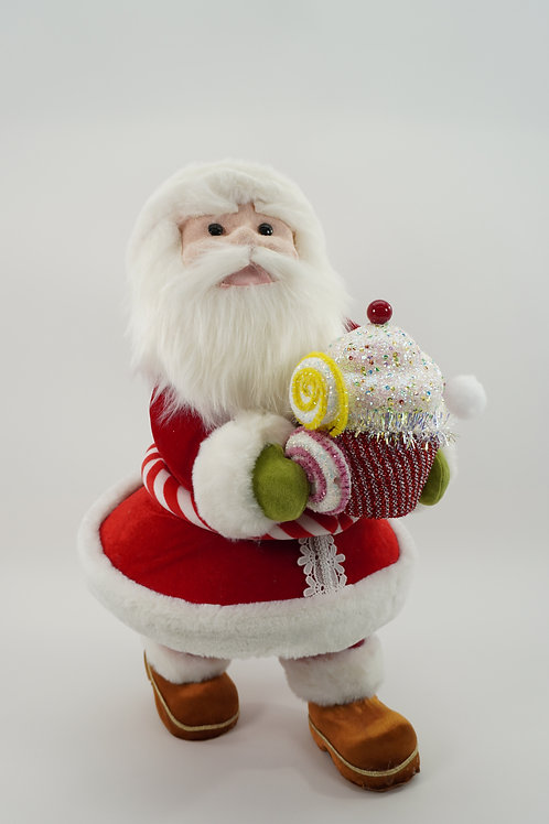 SANTA WITH CUPCAKE 23IN RED