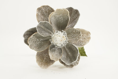 MAGNOLIA STEM WITH 2 LEAVS ICY GRAY