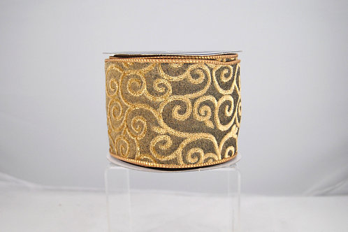 RIBBON TERRY SWIRL 4X10 GOLD