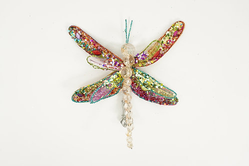 ORNANGE DRAGON FLY WITH CLIP GOLD, PURRPLE, AND PINK
