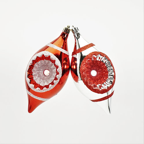 FINIAL CONCAVE 6IN 2PC BOX RED AND SILVER