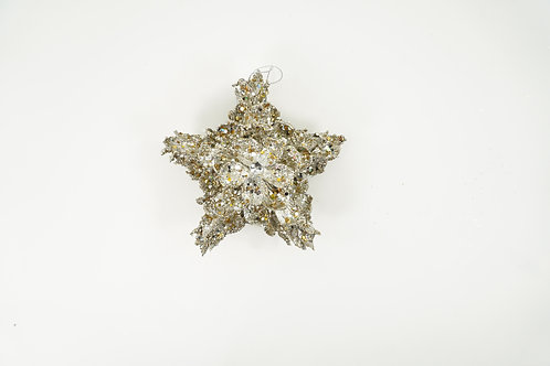 STAR ORNAMENT WITH LEAVES JEWELED PLATINUM