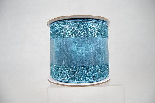 RIBBON GLITTER CANDY 4X10 SIL/TUR