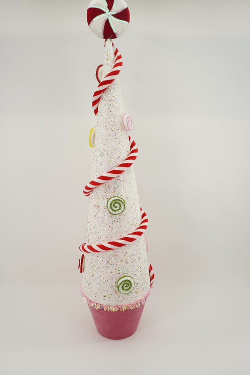 CONE WITH CANDY 42IN WHITE AND PINK