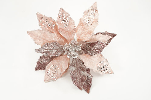POINSETTIA WITH CLIP BLUSH PINK