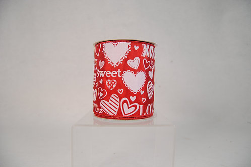 RIBBON 4X10YDS ValentinesS WORD ON RED