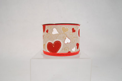 RIBBON NATURAL 2.5X10YDS WITH RED HEARTS