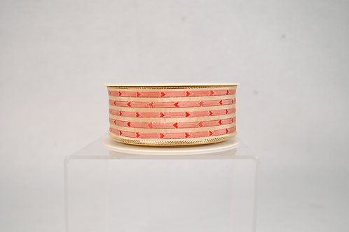 RIBBON GOLD METALLIC WITH RED 1.5X27YDS