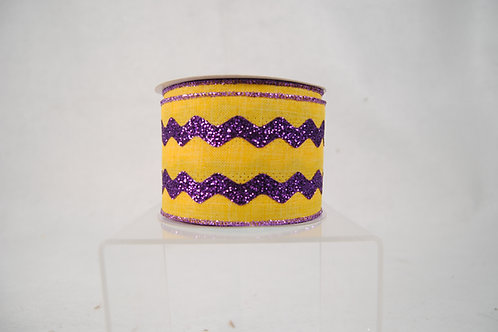 RIBBON GLITTER RICKRACK 2.5X10 PURPLE AND YELLOW