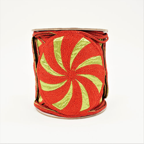RIBBON CANDIES CUTOUT 4X5YD LIME AND RED