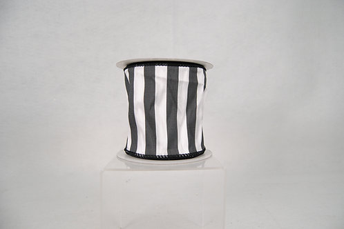 RIBBON TAFFETA STRIPE 4X10 BLACK