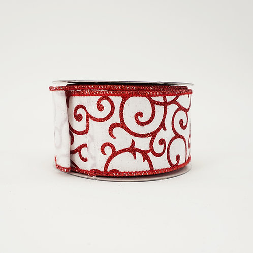 """RIBBON LUS GLITTER SCROLL 2.5""""X10YD WHITE AND RED"""