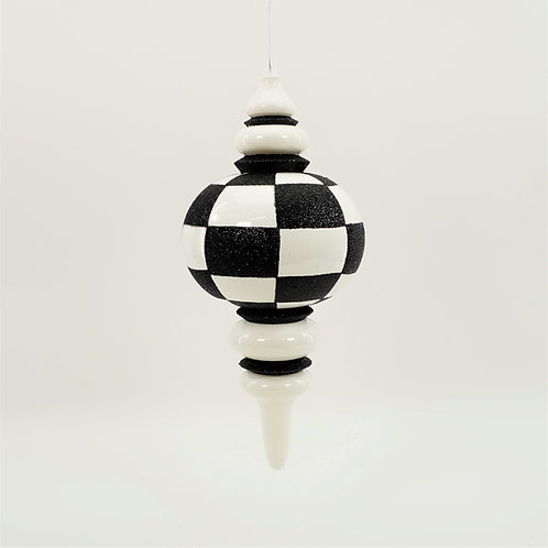 FINIAL CHECKERED WHITE AND BLACK GLITTER