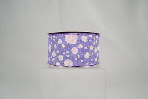 RIBBON BUBBLY DOTS 2.5X10 LAVANDER WHITE