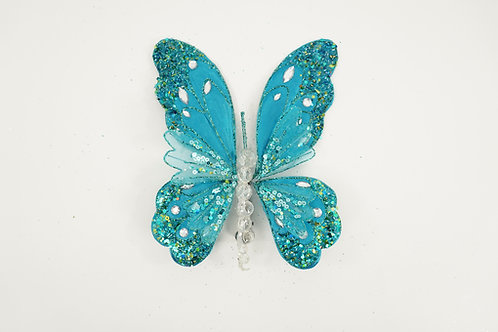 BUTTERFLY WITH CLIP LARGE TEAL