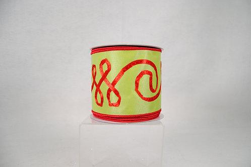 RIBBON LACE EMB 4X10 GREEN/RED