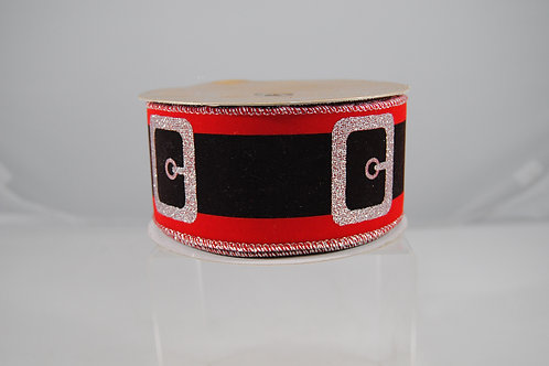 RIBBON SANTA'S BELT 2.5X10 RED/SI