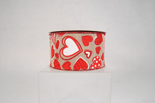 RIBBON NATURAL 2.5X10YDS PATTERNED HEARTS