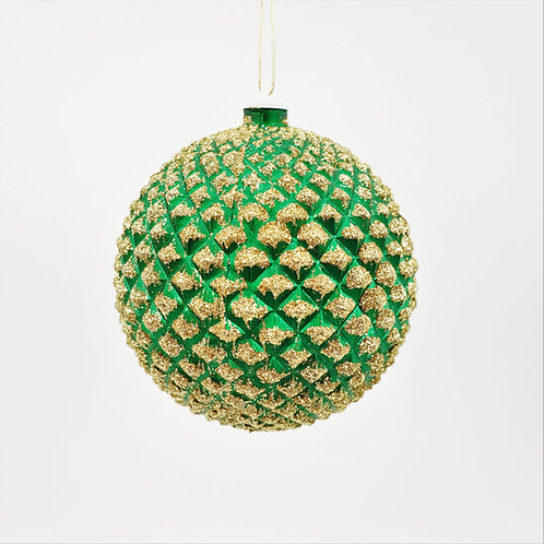 DURIAN BALL 130MM  GREEN WITH GOLD GLITTERED