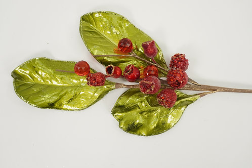 SPRAY MAGNOLIA LEAF WITH BERRIES RED AND GREEN