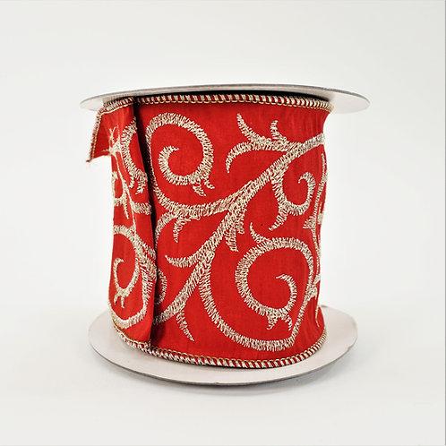 RIBBON SCROLL ZARI EMBROIDERY 4X5 RED