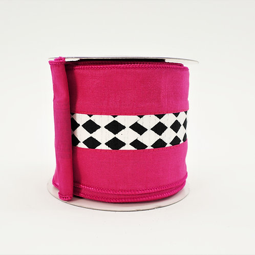 RIBBON DUPION HARLEQUIN 4in x 10yd FUSCHIA
