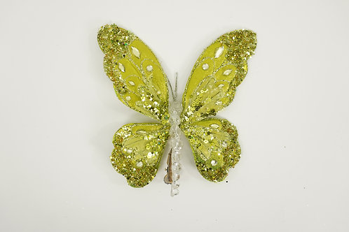 BUTTERFLY WITH CLIP LARGE APPLE GREEN