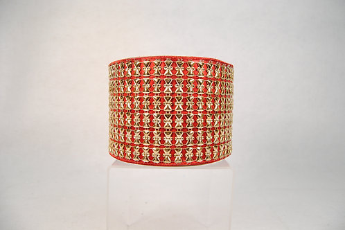 RIBBON ANTIQUE GOLD 4X10 RED
