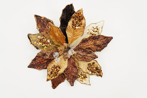 CLIP POINSETTIA LARGE CHOCOLATE