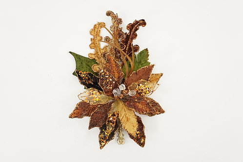 CLIP POINSETTIA WITH A CANE LEAF CHOCOLATE